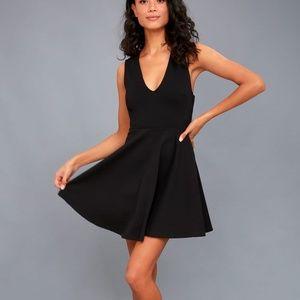 lulu's going steady black backless skater dress
